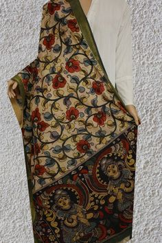 Ikat Pattern, Pattern Art, Kalamkari Dresses, Kalamkari Painting, Kurtis With Pants, Indian Textiles, Floral Area Rugs, Ikat Print, Long Dresses