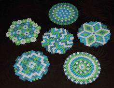 Coasters hama beads by Evasleisure Hama Beads Coasters, Diy Perler Beads, Perler Bead Art, Pearler Beads, Fuse Beads, Perler Bead Designs, Hama Beads Design, Pearler Bead Patterns, Perler Patterns