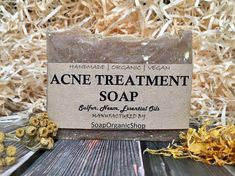 Acne Treatment Soap with herb Essential Oil soap Facial soap Soap with tea tree Handmade soap Teen soap All natural Soap Bar Acne Soap  This soap is what people with problem skin often turn to. Whether its skin rashes, breakouts, eczema, etc. many people find relief using soap containing sulfur, neem, tea tree essential oil and others.  Sulfur is known to have anti-septic/ anti-bacterial properties to cleanse skin. It is also used as a ingredient in some skin-care and hair-care products ...