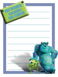 Monsters, Inc journal card