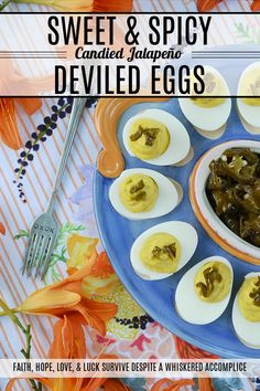 Sweet & Spicy Candied Jalapeño Deviled Eggs - These amazing deviled eggs are a little bit sweet and a little bit spicy, thanks to the addition of finely chopped candied sliced jalapeños. And, whether or not you make your own candied jalapeño slices or buy them from your local market, these eggs will definitely make a great addition to your next cookout, picnic, or family gathering. Delicious Dinner Recipes, Great Recipes, Yummy Food, Yummy Yummy, Jalapeno Deviled Eggs, A Food, Food And Drink, Deviled Egg Platter, Sweet And Spicy