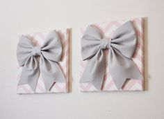 ALL ITEMS ARE MADE TO ORDER PLEASE SEE SHOP FOR CURRENT CREATION TIME!!! Large Gray Bows on Light Pink and White Chevron Canvas 12 x12 Wall Hanging.