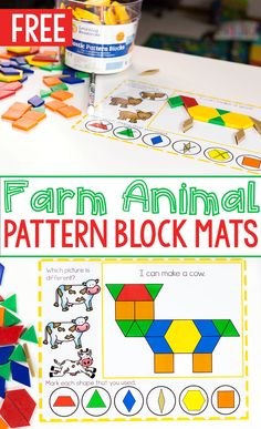 Kids LOVE this fine motor activity! Free printable farm animal pattern block mats for preschool farm themes. Build fine motor and visual discrimination skills with these low-prep pattern block activities for preschoolers. Farm Animals Preschool, Preschool Themes, Preschool Crafts, Preschool Music, Farm Activities, Kindergarten Activities, Visual Motor Activities, Farm Lessons, Farm Unit
