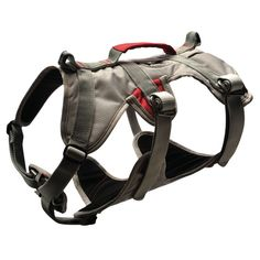 Doubleback Dog Harness - Granite Gray - Large  | Ruffwear's Doubleback harness has the strength and security that you can trust when taking your dog on mountain excursions! Strength rated to 2,000 lbf or 8.9 kN, the fully adjustable padded harness includes martingale & anodized lace back buckles for secure connections. Includes strength rated tie-in point for quick and easy rope attachment. The stylish Granite Gray design is sized for large dogs.
