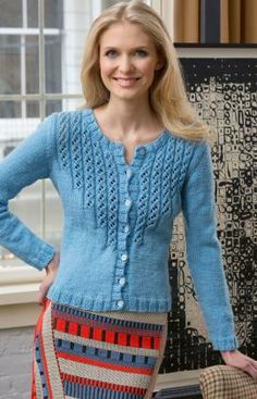 Alice Blue Cardigan Free Knitting Pattern from Red Heart Yarns