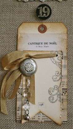 sheet music, ribbon, vintage button