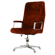 Osvaldo Borsani desk chair in red brown suede leather for Tecno, Italy | From a unique collection of antique and modern office chairs and desk chairs at https://www.1stdibs.com/furniture/seating/office-chairs-desk-chairs/