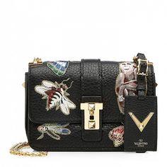 944a431e84 Valentino Garavani Leather Lock bag with Japanese Bird embroidery ...