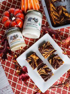 #ad #sponsored Pumpkin Cheesecake Swirl Brownies