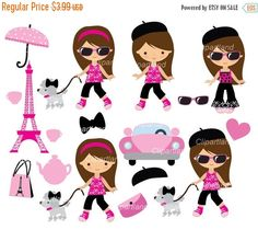 ON SALE INSTANT Download. Paris girl clip art. French girl