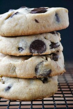 a stack of peanut butter chocolate chip shortbread cookies
