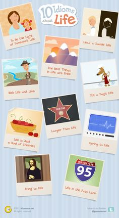 10 Idioms About Life With so many idioms to choose from, selecting the right phrase for the occasion can be a challenge. For those who have been wondering what are idioms, here are 10 popular idioms and phrases that describe life in a clever manner. English Idioms, English Lessons, Learn English, English Grammar, English Tips, English Study, English Class, Grammar And Vocabulary, English Vocabulary