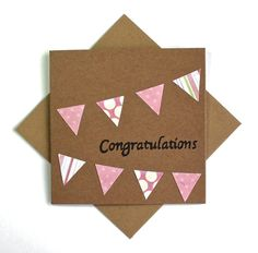 Baby Girl Congratulations Card. Celebration Pink Bunting Card. New Baby Card. Baby Shower Card. on Etsy, $4.41 AUD