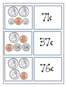 Here's a set of money matching cards for students to practice finding the value of a collection of coins.