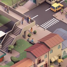 #low #poly #city #street #isometric #3d