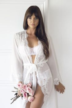 Helena long lace robe by homebodii is a gorgeous white chiffon robe adorned with elegant lace rosettes. Bridal Boudoir, Bridal Robes, Wedding Lingerie, Lace Bridal Robe, Wedding Underwear, Bodysuit Lingerie, Hot Lingerie, Lingerie Models, Lingerie Sets