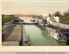 McAlpine Canal locks and dam University Of Louisville, Louisville Kentucky, Steam Boats, Ohio River, Historical Photos, Old Photos, Places To Visit, Locks, City