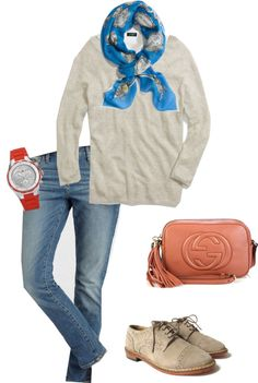 """""""Madewell Sweatshirt and scarf"""" by nstob ❤ liked on Polyvore"""