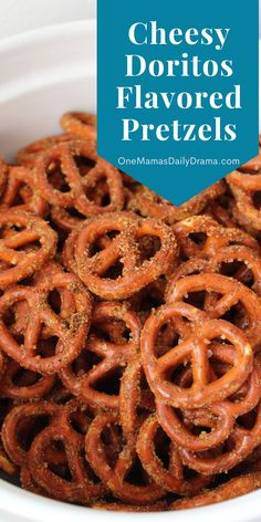 Doritos flavored pretzels are a deliciously cheesy snack idea that's perfect for the holidays! Mix it up and bake like chex mix using just a few ingredients. Find the recipe at OneMamasDailyDrama.com. Salty Snacks, Yummy Snacks, Snack Recipes, Yummy Food, Drink Recipes, Delicious Recipes, Best Party Appetizers, Popular Appetizers, Pretzels Recipe