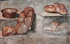 Fresco of Panis Quadratus, or Panis Siligineus (by Farrell Monaco) - A fresco from the House of Julia Felix in Pompeii , Italy . The fresco depicts different kinds of Roman breads, and is on display in the National Archaeological Museum of Naples. Ancient Pompeii, Pompeii And Herculaneum, Pompeii Italy, Different Types Of Bread, Roman Food, Ancient Recipes, Water Recipes, Roman Empire, Museum