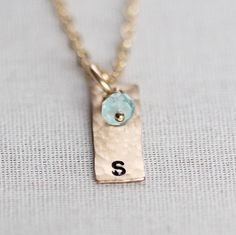 Dainty Personalized Birthstone Necklace, Gold Vertical Bar Necklace, Initial Necklace Birthstone, 14k Gold Filled