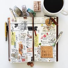 Gorgeous midori travelers notebook pages - ideas and inspiration for keeping a travel journal, sketchbook, scrapbook, or art journal Smash Book, Scrapbooking, Scrapbook Paper, Scrapbook Journal, Travel Journal Pages, Planner Journal, Travel Journals, Diary Planner, Journal Diary