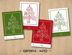 PRINTABLE Christmas Gift Tags  H004Type Tree by graphicsNsuch, $5.00
