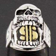 Gold Dollar Sign Skull Diamond 925 Sterling Silver Ring Jewellery Size L-Z, 6-13