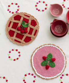 Stitch up something yummy in the kitchen with #crochet strawberries and cherries. via @Crochet Today
