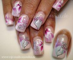 a heart with flowers by vipnailsmonika - Nail Art Gallery nailartgallery.nailsmag.com by Nails Magazine www.nailsmag.com #nailart