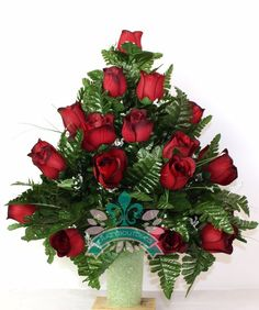 XL Beautiful Classic Red Roses Cemetery Flower Arrangement for a 3 Inch Vase