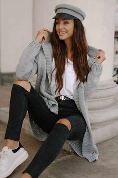 Cardigan clasic dama cu gluga gri-deschis #cardigandama Hipster, Style, Fashion, Tricot, Swag, Moda, Hipsters, Stylus, La Mode