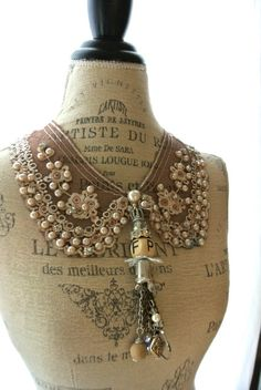 Pearl Peter pan collar necklace, gypsy cowgirl bib necklace, shabby coffee statement necklace, country chic, true rebel clothing. $65.00, via Etsy.