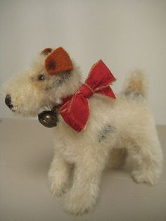 #Steiff Vintage 10cm Foxy Fox #Terrier – 1949 to 1975 – A Sweet Little Pup! #FoxTerrier