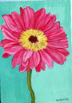 Original Pink Gerbera Daisy painting,  canvas panel, Gerber Daisy  flower art,  5 x 7