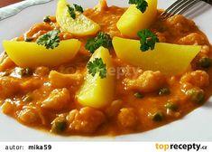Květák s hráškem na paprice recept - TopRecepty.cz Chana Masala, Risotto, Curry, Pork, Food And Drink, Ethnic Recipes, Sweet, Fitness, Red Peppers