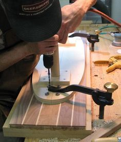 Hard at work in the longboard shop