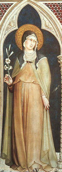 Simone Martini - Santa Chiara - affresco - 1312-1317 - Cappella di San Martino, Chiesa inferiore, Basilica di San Francesco, Assisi