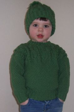 Unisex Jumper and matching Pompom Hat - buttons at neck for ease of opening. Knitted in Double Knitting Wool in shade of Green