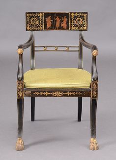 REGENCY EBONIZED, PARCEL GILT AND CANED ARMCHAIR Decorated In The Etruscan  Taste, The
