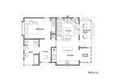 Betty Lu Cottage 708 Sq ft. 1 bedroom. 1 bath. With study and dining alcove | Ross Chapin Architects