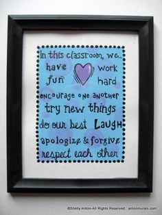 "This classroom sign is hand painted on high quality canvas paper. It looks great in an 8x10"" frame as pictured. Please note the frame is NOT included. It would look great sitting on your desk or give it as a gift to a special teacher friend! It is completely hand painted in blue, lavender and black."