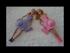 Элегантное платье для куклы крючком.  Платье, клатч, шляпа.  1 часть Платье - YouTube