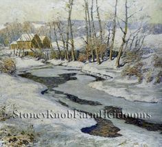 The Mill Stream in Winter ~ Landscapes ~ Counted Cross Stitch Pattern #StoneyKnobFarmHeirlooms #CountedCrossStitch
