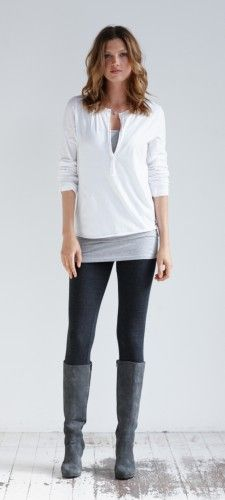 elsker dette antrekket-Cotton Henley i hvitt fra hush loving this outfit-Cotton Henley in White from hush – Favoritt motetips Casual Outfits, Cute Outfits, Fashion Outfits, Style Fashion, Fashion Women, Grey Boots Outfit, Gray Boots, Outfits With Grey Boots, Fall Winter Outfits