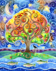The River by the Tree - 8x10 Colorful Tree Fish Raven Moon Star Print. $25.00, via Etsy.