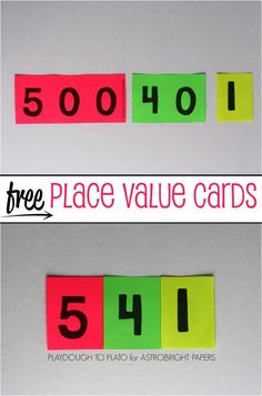 Free Printable Place Value Cards! Color can make learning a more fun and impactful experience. To help kids easily see the parts that make up three digit numbers, print these free place value cards on Place Value Cards, Math Place Value, Teaching Place Values, Teaching Math, Teaching Time, Math Resources, Math Activities, Math Games, Word Games