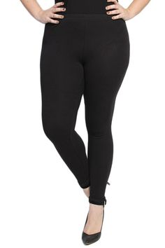 41ac54b1b4c TheMogan Women s Essential Plain Cotton Stretch Leggings Black-2XL. Plus  Size ...