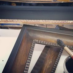 Finishing frames for dutch pictures...walnut veneer ripple decoation and ebonising.