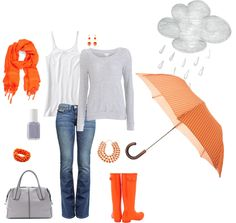 Jeans with an orange scarf, rain boots and umbrella, gray hoody